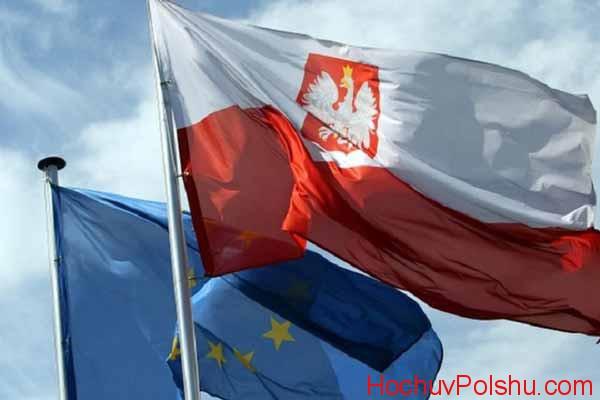 флаги Евросоюза и Польши
